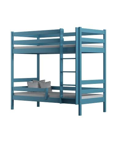 Children's Beds Home - Litera de madera maciza - Theo para niños niños pequeños - Tamaño 180x90, color azul, cajón ninguno, colchón ninguno