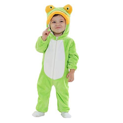 LSERVER Unisex-Baby Schlafanzug Tier Pyjama Jumpsuits Tierkostüm, Frosch, 18/24 Monate(100)