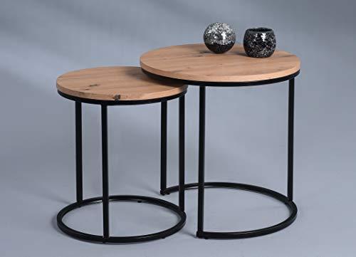 HomeTrends4You Denver Tavolino da caffè, Materiale a Base di Legno, Marrone, H1=47cm, D1=40cm, H2=52cm, D2=50cm