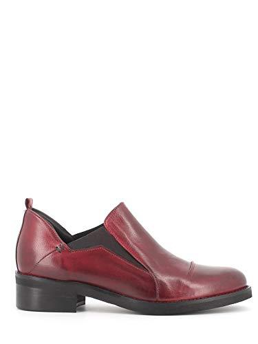 Pierfrancesco Vincenti Zapatos de mujer fabricados en Italia – Zapatos bajos de piel sin cordones con elásticos laterales burdeos Size: 38 EU