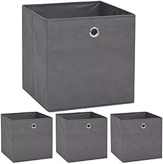 Cube de Rangement Pliable Ouvert, Lot de 4 Boîte de Rangement Carré Panier de Stockage Commode en Tissu pour Jouet Vêtemen...