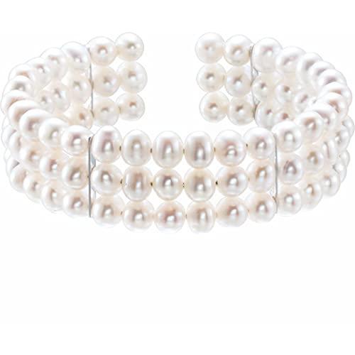 Pulsera de plata de ley 925 cultivada en agua dulce con perlas de 7 1/2 pulgadas, regalo para mujeres