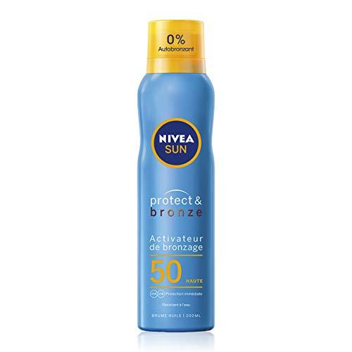 NIVEA SUN Brume huile activateur de bronzage Protect & Bronze FPS 50 (1 x 200 ml), spray brume avec protection solaire UVA/UVB, brume solaire bronzage naturel et uniforme