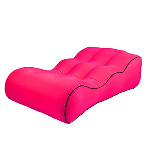 Sofá de aire hinchable, bolsillo para exteriores, sofá inflable, cama de almuerzo, silla de camping, color rojo (190 x 85 x 40 cm)