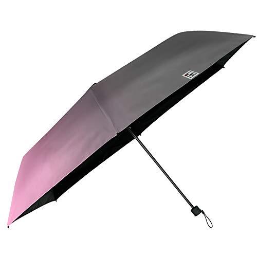 Regenschirm UV Block Schutz für Damen Mädchen - Super Kompakt Taschenschirm Mehrfarbig Schwarz - Minischirm Reise Schirm Windproof Leicht Bunt Stabil - Durchmesser 91 cm - Perletti Trend (Rosa Grau)