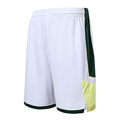 NIUPUPU Pantalones Cortos de Baloncesto para Hombre NBA Milwaukee Bucks Pantalones Cortos de Fitness para Correr Pantalones Cortos de Entrenamiento de Ropa Informal de Gimnasio XXS-5XL