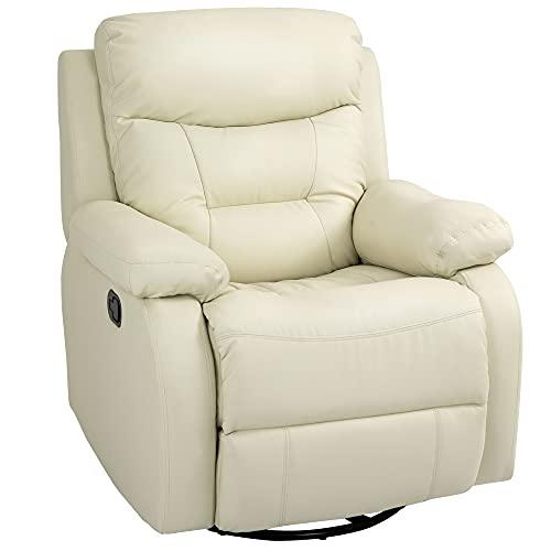 homcom Poltrona Relax Reclinabile a 150°, Girevole e con Poggiapiedi, Similpelle PU e Metallo, Bianco, 90x101x102cm