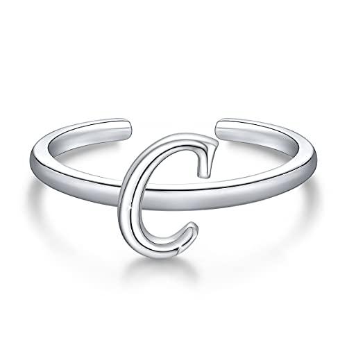 Anillos de letras iniciales apilables de plata de ley 925, anillo de letra C del alfabeto en mayúscula, banda inicial ajustable para mujeres y niñas