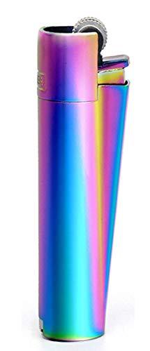 HIBRON Clipper 1 Encendedor Mechero Clásico Largo Metal Icy Colours Colors 2 Multicolor Arcoiris Y 1 Llavero Gratis