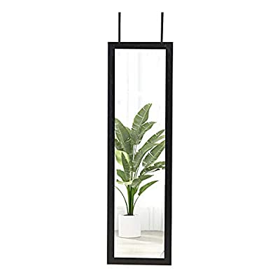 ZHUIDU HOME Full Length Wall Mirror 14x48 Inch Over Door Mirrors Fashion Aluminum Alloy Thin Frame for Home Decor Hanging Framed Bathroom Rectangle Dressing Black