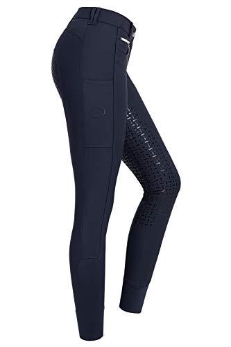 RIDERS CHOICE Pantaloni per Equitazione da Donna con Rinforzo Completo in Silicone e Tasca portacellulare - RidersDeal Collection per Cavalieri, Dark Sapphire, 40