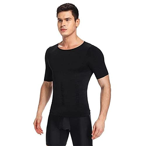 HYZSM 2021 Men's Shaper Slimming Compression T-Shirt, T-Shirt Suitable for Sports and Fitness Running, Skipping Rope, Gym Workout (Medium,Black)