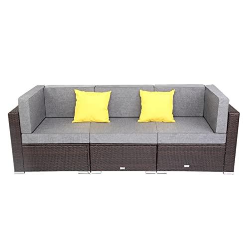 Muebles de patio de liquidación, Patio de 3 piezas EDUCACIÓN FÍSICA Conjunto de sofá de ratón de mimbre que incluye 2 piezas de sofá de esquina + 1 pieza de conjuntos de muebles de patio de sofá sin b