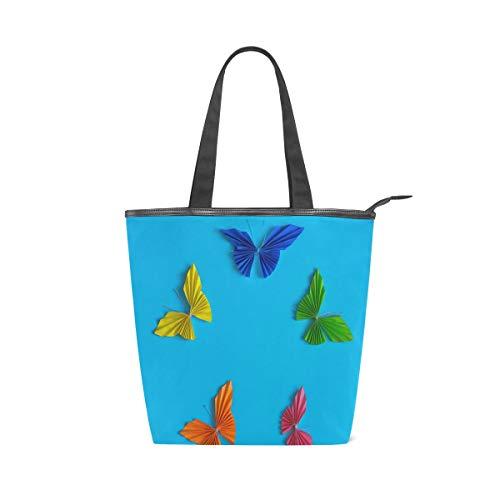 Irud Segeltuch-Tragetasche, bunte Papier-Schmetterling, wiederverwendbare Schultertasche für Frauen, Handtasche, Einkaufstasche für Einkaufen, Alltag, Arbeit, Schule, Reisen