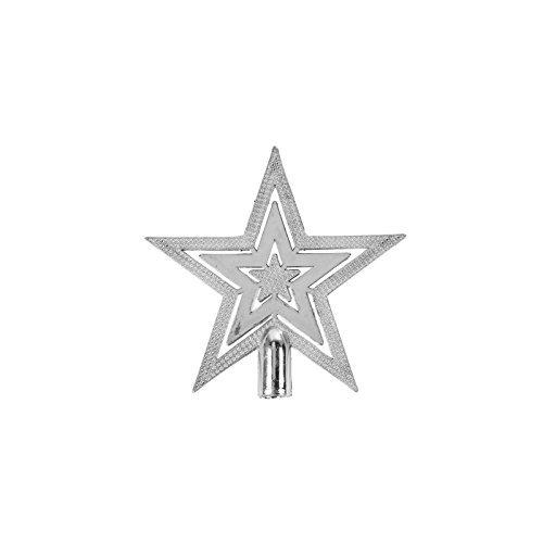 Robelli Mini 10cm Silver Shiny Embossed Star Christmas Tree Topper Decoration