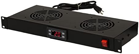 NavePoint Rack Cabinet Mounted 2 Fan Digital Temperature Control Cooling System 1U