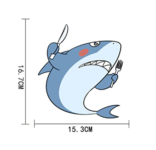 Cbhsjinsuxha 4 Piezas Pegatinas de Coche 15.3 cm * 16.7 cm Dibujos Animados Submarino tiburón calcomanía PVCCar Pegatina