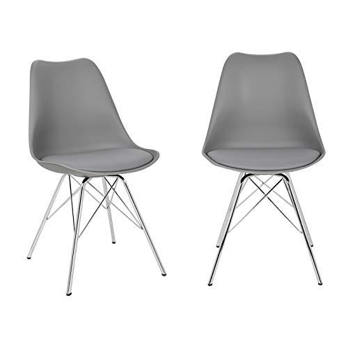 ELIGHTRY 2er Set Esszimmerstühle mit verchromter Stahl Bein, Retro Design, Kunstleder Küchenstuhl, Wohnzimmerstuhl, Grau