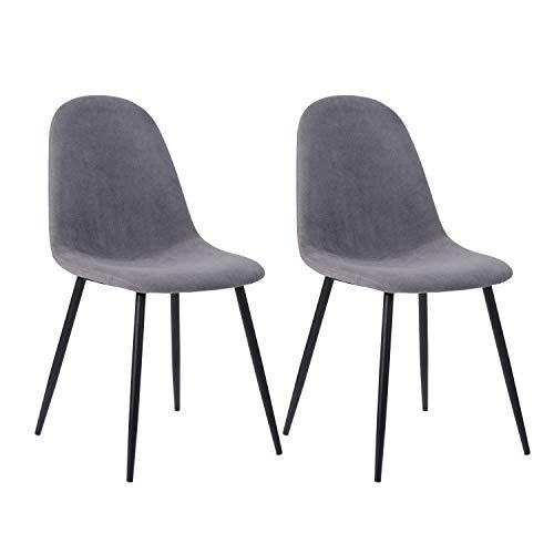 MEUBLE COSY Lot de 2 chaises de salle a Manger Scandinave, Chaise de Cuisine avec un revêtement de tissu Gris, pied en métal imitation bois , Gris /42,5x54,5x86cm 2.0PCS