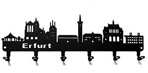 steelprint.de Schlüsselbrett/Hakenleiste * Skyline Erfurt * - Schlüsselboard Thüringen, Schlüsselleiste, Metall - 6 Haken