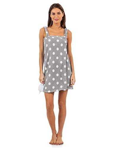 Casual Nights Women's Plush Fleece Shower Wrap Bathrobe with Soap Sponge - Grey Polka Dots - Large