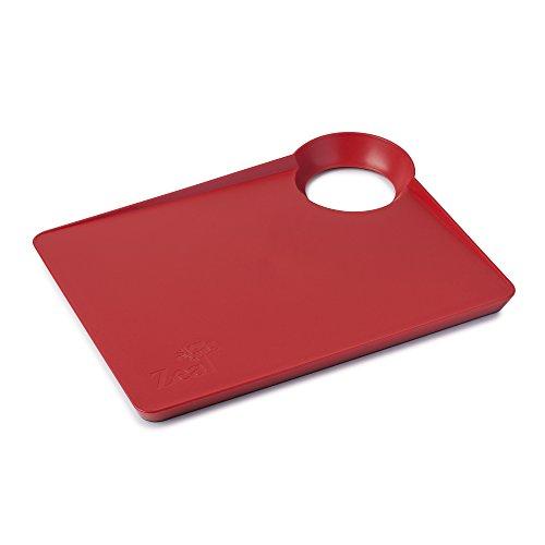 Zeal au Cour Poêle de Cuisine Planche à découper avec antidérapant Base-Small (33 cm/34 cm), Rouge, 33.5 x 25.5 x 3 cm