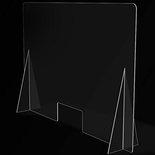 Mampara de Protección para mostradores, Policarbonato/Metacrilato Compacto 3-4 mm, Varias medidas (90cm x 65cm)