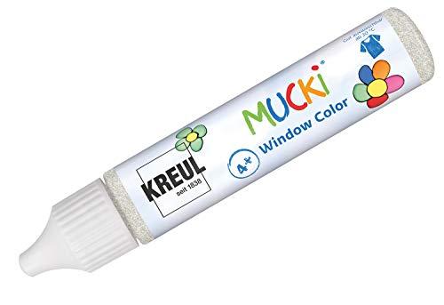 Kreul 24437 - Mucki Window Color, glitzer silber, 29 ml Pen, Fenstermalfarbe auf Wasserbasis, parabenfrei, glutenfrei, laktosefrei, vegan, leicht vermalbar, auswaschbar