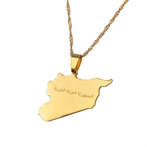 YUANYIRAN Karte Von Syrien Anhänger Halsketten - Charme Afrika Ethnische Karten Flagge Dünne Kette Halsketten, Patriotische Gold Farbe Karte Hip Hop Schmuck Für Frauen Männer Party Geschenk, 60Cm