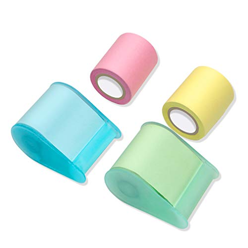 Sticky Notes - VANZAVANZU Self-Stick Full Adhesive Roll Notes with Tape Dispenser, Tear The Different Sizes You Need, 2 Tape Holders + 4 Replaceable Rolls, 4 Colors, Easy Post Notes