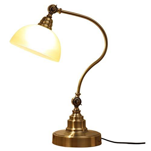 Lámpara Escritorio LED Cobre plateado Lámpara de escritorio Lámpara de vidrio ajustable Dormitorio Lámpara de cabecera Sala de...
