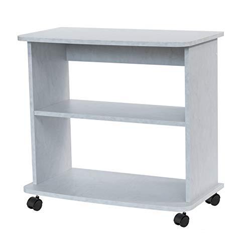 Relax e Design Mobile Carrello Bianco Cemento Porta TV, Stampante, Hi-Fi, ed Altro, H.71 L.75 P.40