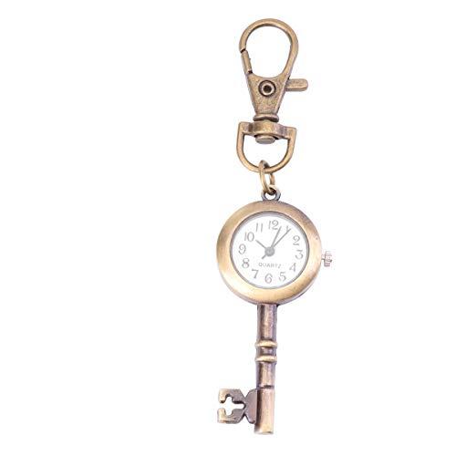 Hemobllo Schlüsseluhr Quarz Taschenuhr mit Schlüssel Schnalle Tragbare Uhr Schlüsselbund Vintage Schlüsselanhänger Retro Anhänger Tasche Geschenk für Valentinstag