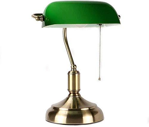 Lámpara de mesa Lámpara de banqueros verde con marco de interruptor de tracción Pantalla de latón antiguo Lámpara de escritorio verde Lámpara de trabajo Nostalgia retro antigua