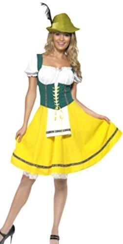 erdbeerloft - Damen Oktoberfest Kleid Bayern Look , XL, Gelb-Grün
