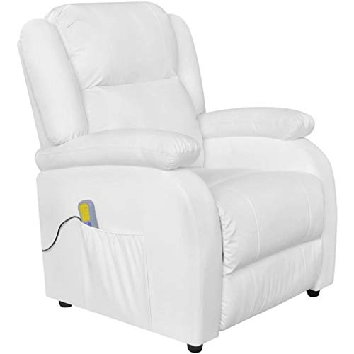 vidaXL Sillón de Masaje Eléctrico Ajustable Cuero Artificial Blanco Sofá Salón