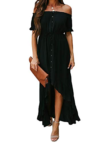 Dokotoo Womens Ladies Elegant Off The Shoulder Casual Short Sleeve Button Down Maxi Midi Long Dress High Low Solid Cocktail Party Dresses Black Large (Apparel)
