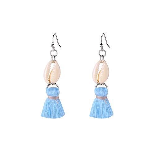 Yehwang Opgericht 2008 Premium Design Vrouwen Fashion Jewellery - Oorbellen met natuurlijke schelp en Boheemse kwast - Blauw - nikkelvrij