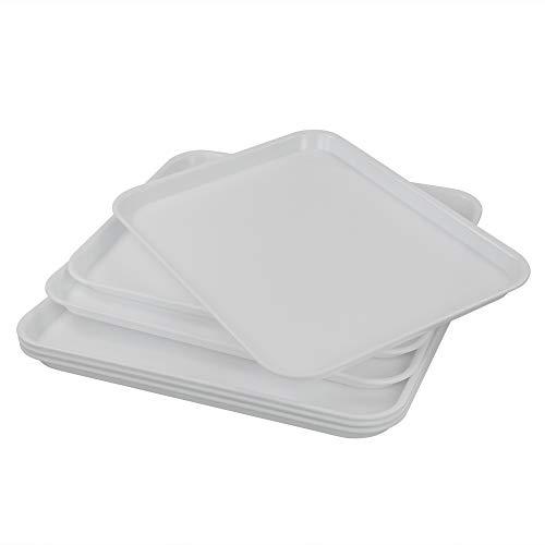 Fosly Vassoio In Plastica Rettangolare Set di 6, Vassoio per Fast Food Bianca