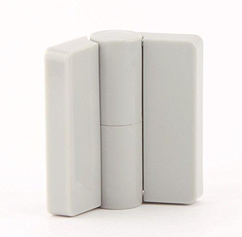 CABSAN Lot de 6 Paumelles gauche tirante en nylon gamme 2 pour cabines sanitaires 10 mm avec porte en applique coloris gris RAL 7038