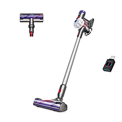 Premium Dyson V7 Allergy HEPA Cordless Stick Vacuum Cleaner I Bagless Ergonomic I Telescopic Handle I Carpet and Edge Cleaning I Height Adjustable I Battery Operated Silver + Delca USB-C Adapter