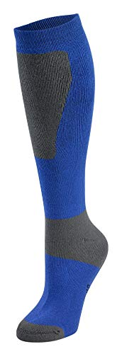 Bamboo Sports Odor Resistant Moisture Wicking Ski & Snowboard Socks - Large - Blue/Gray