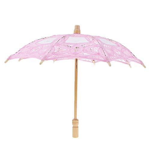 Homyl Mini Regenschirm Brautschirm Stockschirm Hochzeitsschirm mit Blumenspitze Design, Farbwahl - Rosa