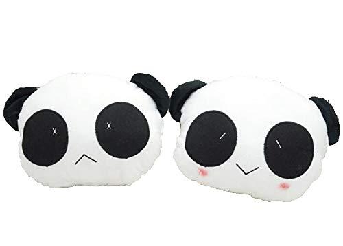 QMMCK 2 Piezas Lindo Panda Reposacabezas del Coche Felpa Corta Caricatura Almohada De Cuello...