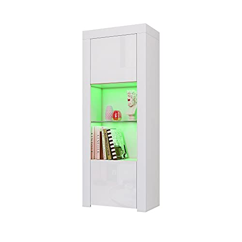 Panana Tall Cupboard Cabinet Two Door One Glass Shelf Cabinet Sideboard Unit Cupboard Display (White)
