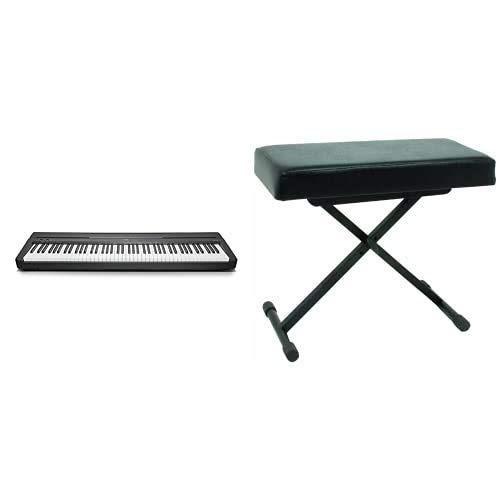 YAMAHA Digital Piano P-45B Pianoforte Digitale dal Suono Acustico Autentico, Design Compatto, Leggero ed Elegante, Facile da Usare e Trasportare, Nero & QUICK LOK BX8 Panca Piccola con Cuscino Alto