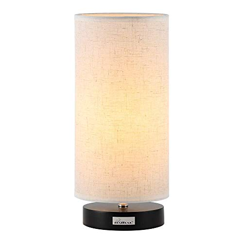 HAITRAL Bedside Desk Lamp - Modern Minimalist Table Lamp with Fabric Shade Nightstand Light for Bedroom, Living Room Office, College Dorm, Kids Room, Cylinder