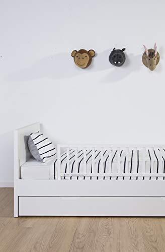 Alto 42cm Barrera de Cama- Cuna Convertible Universal para Beb/é//Ni/ño Peque/ño Color : 0-5cm Thickness Mat, Size : 88cm Blanco Barandilla De Seguridad De Madera para Literas