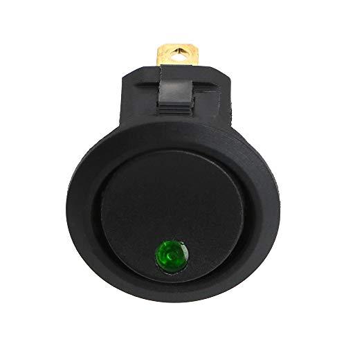 DFYYQ Interruptor 16A 12V LED de Punto Ligero del Coche Ronda Barco Eje de balancín de Encendido/Apagado el Interruptor unipolar Impermeable Universal Partes Interiores (Color : Green)