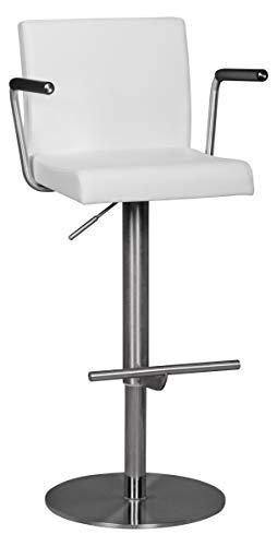 24Designs Martez Verstelbare Barkruk - Wit Kunstleer - RVS Onderstel